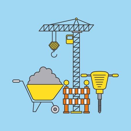 Crane, brick, jackhammer and wheelbarrow Ilustração