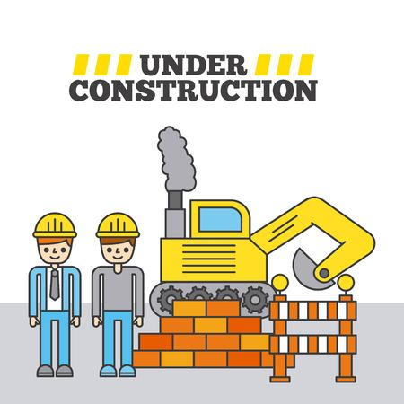 Construction worker with bulldozer and barrier wall