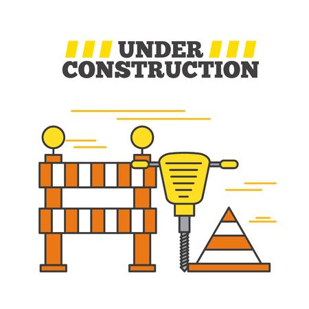 Construction site with hammer, barrier and cone
