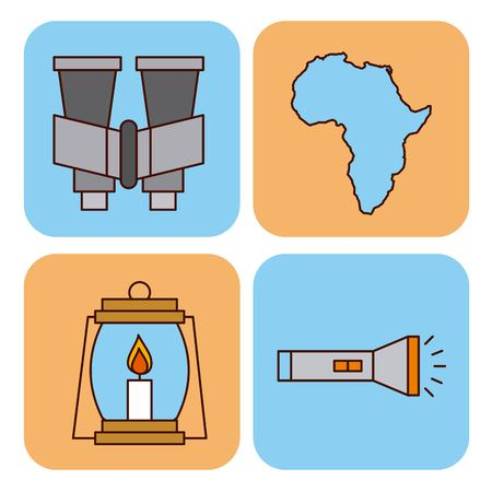 Set safari travel vacation equipment icons vector illustration lamp, flashlight binoculars Çizim