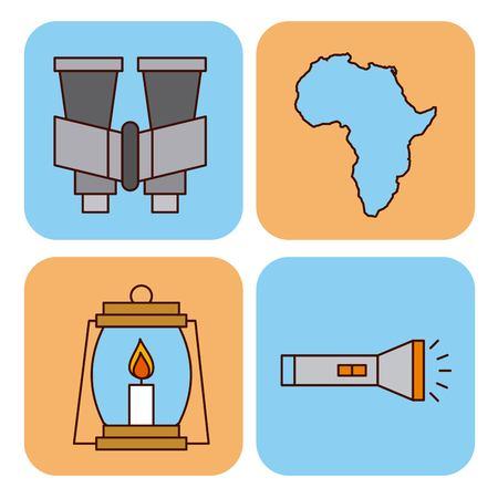 Set safari travel vacation equipment icons vector illustration lamp, flashlight binoculars Illustration