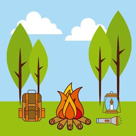 バックパック、ランプ、懐中電灯が付いている風景火キャンプ  イラスト・ベクター素材