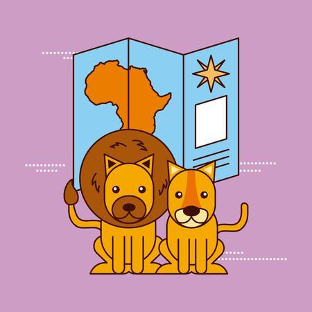 アフリカのライオンと地図のナビゲーション