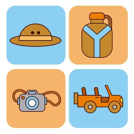 Vakantie apparatuur pictogrammen Stock Illustratie