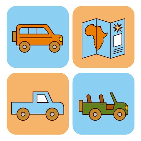 Travel equipment icons