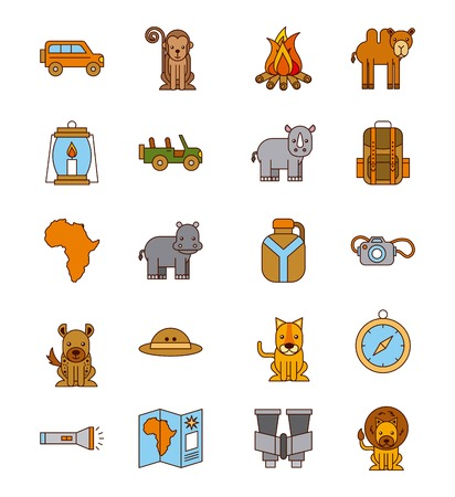 Set safari travel vacation equipment icons vector illustration