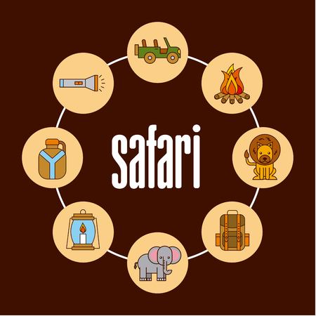 Safari voyage aventure affiche naturel illustration vectorielle Banque d'images - 85126445