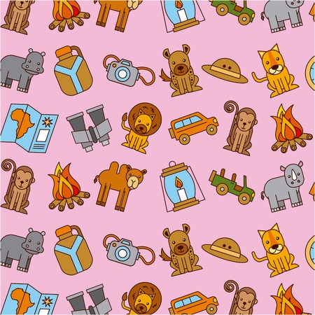 African animals with equipment wallpaper