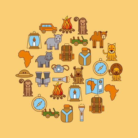African animals and equipment in round pattern