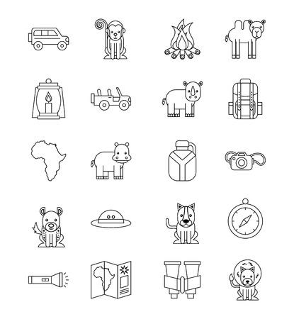 Travel equipment icons