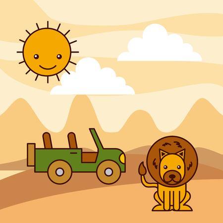 사막에 사는 아프리카 사자 일러스트