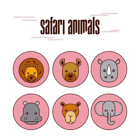 Different kinds of wild animals Çizim