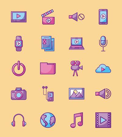 multimedia social media network application icon set design vector illustration Çizim