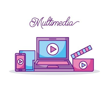 マルチ メディア技術のデバイス ビデオ デジタル ベクトル図  イラスト・ベクター素材