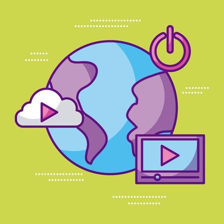 world player video movie sound start cloud vector illustration Illustration