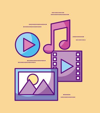 multimedia video music picture play desing vector illustration Illustration