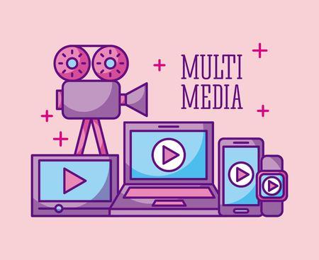 multimedia technology device digital wireless vector illustration