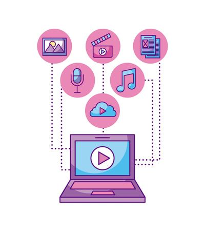 laptop player video button network icons vector illustration