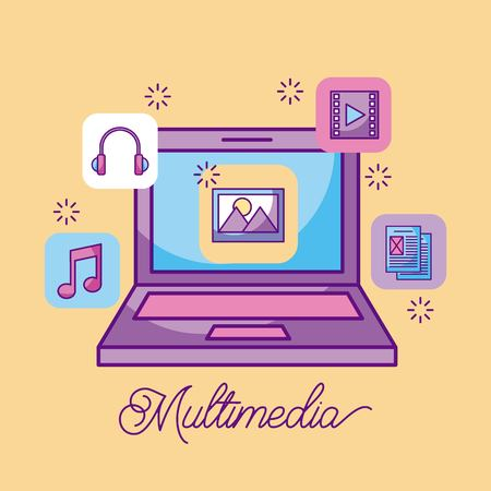multimedia laptop picture information storage icons vector illustration