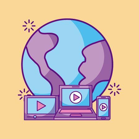 global world technology device digital communication connection vector illustration