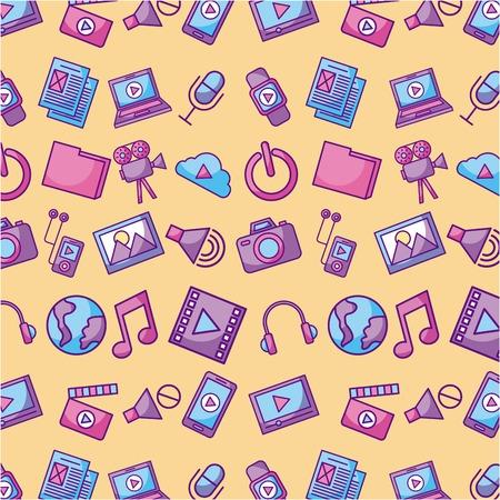 multimedia social media network application icon set design vector illustration Ilustração