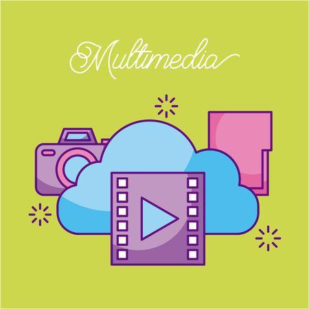 Cloud computing video movie file photo information media vector illustration