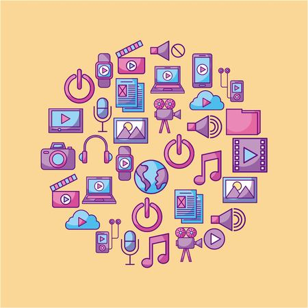 Multimedia social media network application icon set design vector illustration