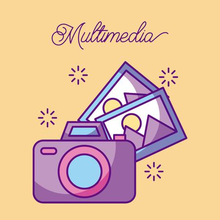 Multimedia photographic camera picture gallery vector illustration Illusztráció