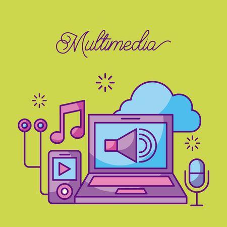 Multimedia laptop mp3 microphone music sound volume cloud vector illustration