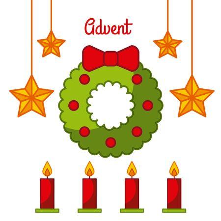 Ilustración de vector de celebración de Adviento guirnalda velas decoración Foto de archivo - 85126600