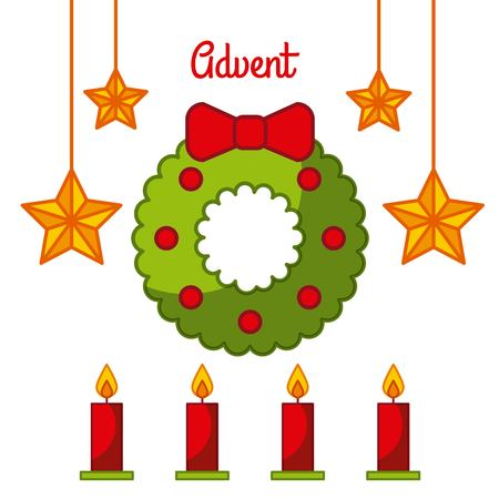 Advent wreath star candles decoration celebration vector illustration