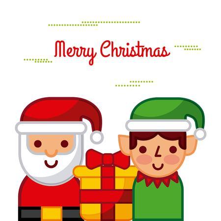 Merry christmas santa and helper gift box celebration image vector illustration Illustration