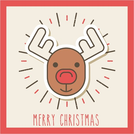 메리 크리스마스 귀여운 순록이 축하 이미지 벡터 일러스트 레이션 스톡 콘텐츠 - 85126749