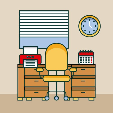 office workspace desk computer printer clock calendar vector illustration