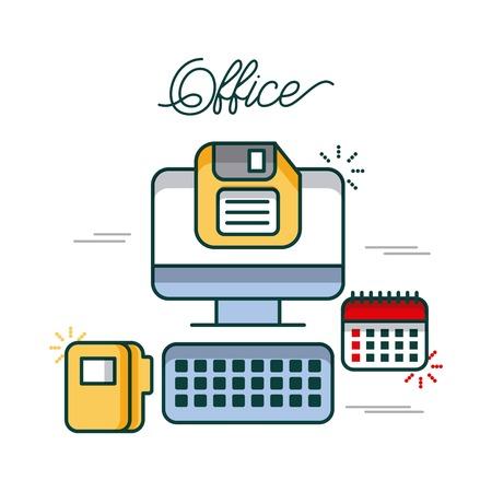 사무실 컴퓨터 일정 폴더 파일 디스켓 작업 이미지 벡터 일러스트 레이션
