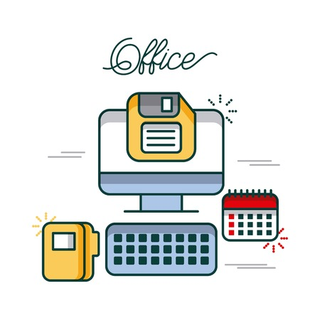 office computer calendar folder file diskette work image vector illustration