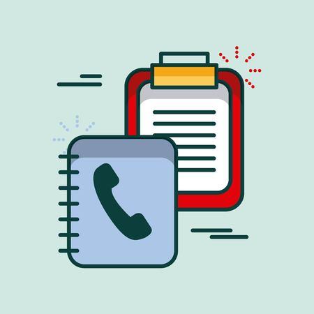 Klembord controlelijst adresboek levering kantoor vectorillustratie