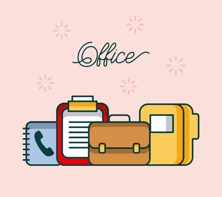 office checklist folder address book briefcase accesory work image vector illustration Ilustração