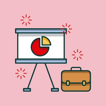 zakelijke office board presentatie grafiek en werkmap vector illustratie Stock Illustratie