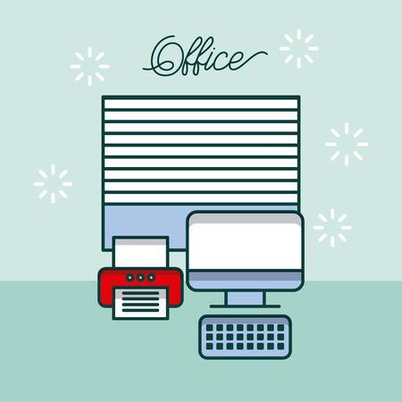 office computer device printer window work site vector illustration