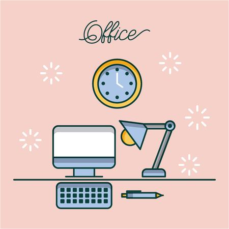 office computer desk lamp clock and pen work image vector illustration