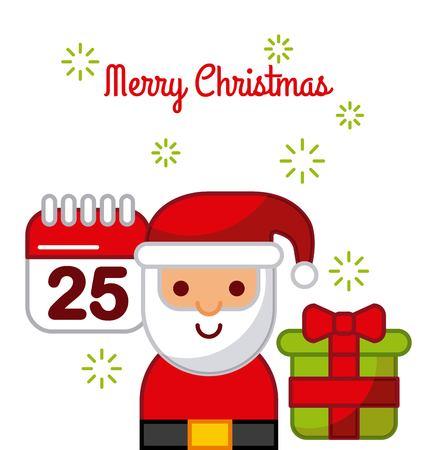 merry christmas santa claus calendar gift box celebration image vector illustration