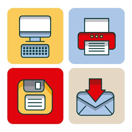 office set icons equipment supplies work vector illustration