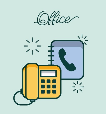 office telephone and address book contact work image vector illustration