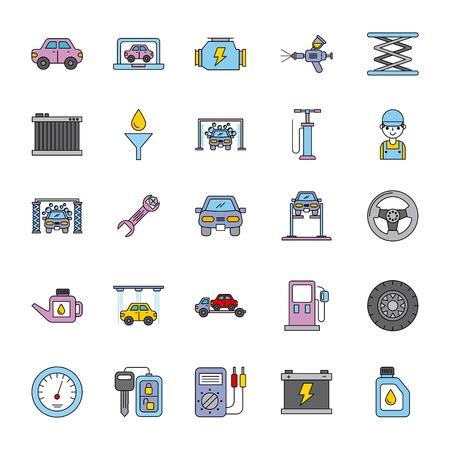 auto-service apparatuur tool ondersteuning pictogrammen vectorillustratie instellen