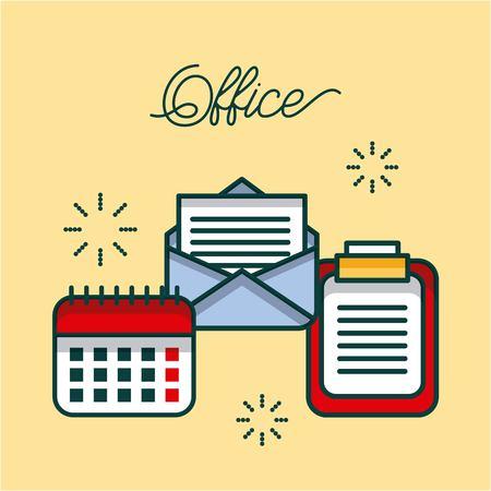Liste de bureau email calendrier de travail image vectorielle illustration Banque d'images - 85126767