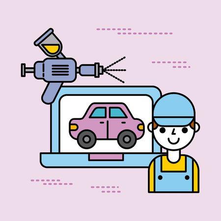 car service worker person laptop spray paint color vector illustration