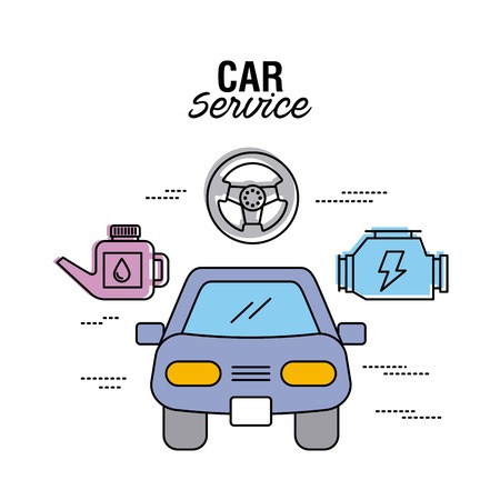 car service mechanic engine technology vector illustration