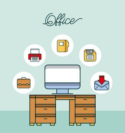office workspace desk computer email printer diskette file vector illustration Иллюстрация