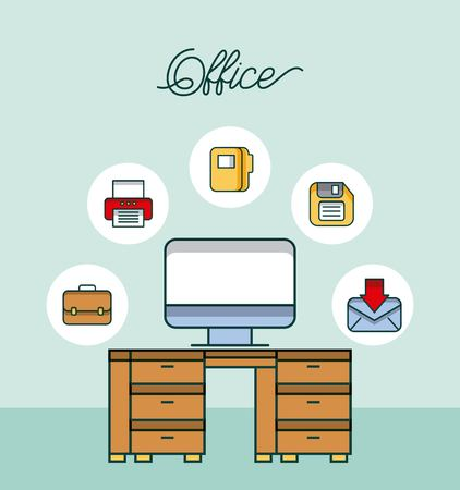 office workspace desk computer email printer diskette file vector illustration Illustration